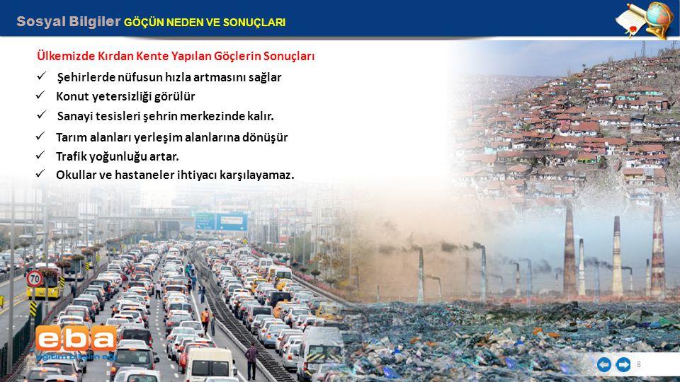 Sosyal Bilgiler GÖÇÜN NEDEN VE SONUÇLARI 8 Ülkemizde Kırdan Kente Yapılan Göçlerin Sonuçları Şehirlerde nüfusun hızla artmasını sağlar Konut yetersizliği görülür Sanayi tesisleri şehrin merkezinde kalır.