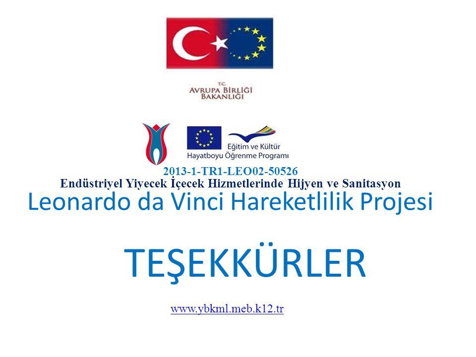 2013-1-TR1-LEO02-50526 Endüstriyel Yiyecek İçecek Hizmetlerinde Hijyen ve Sanitasyon Leonardo da Vinci Hareketlilik Projesi TEŞEKKÜRLER www.ybkml.meb.