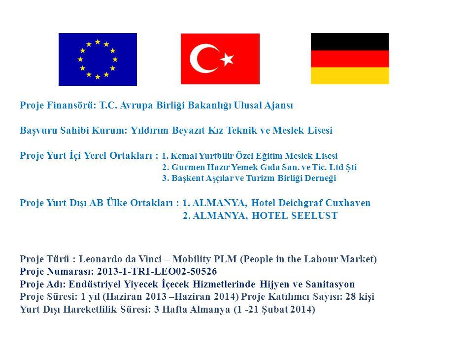 Proje Türü : Leonardo da Vinci – Mobility PLM (People in the Labour Market) Proje Numarası: 2013-1-TR1-LEO02-50526 Proje Adı: Endüstriyel Yiyecek İçecek Hizmetlerinde Hijyen ve Sanitasyon Proje Süresi: 1 yıl (Haziran 2013 –Haziran 2014) Proje Katılımcı Sayısı: 28 kişi Yurt Dışı Hareketlilik Süresi: 3 Hafta Almanya (1 -21 Şubat 2014) Proje Finansörü: T.C.