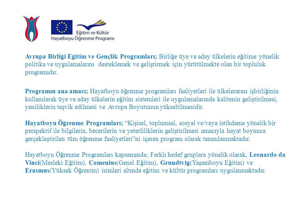 Avrupa Birliği Eğitim ve Gençlik Programları; Birliğe üye ve aday ülkelerin eğitime yönelik politika ve uygulamalarını desteklemek ve geliştirmek için