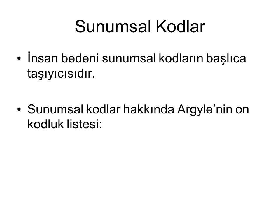 Sunumsal Kodlar İnsan bedeni sunumsal kodların başlıca taşıyıcısıdır. Sunumsal kodlar hakkında Argyle'nin on kodluk listesi: