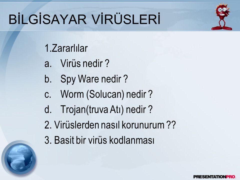 BİLGİSAYAR VİRÜSLERİ 1.Zararlılar a.Virüs nedir .b.Spy Ware nedir .