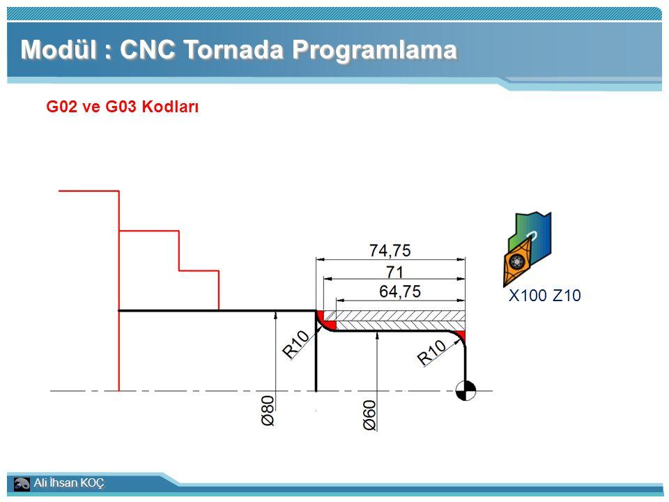 Ali İhsan KOÇ Modül : CNC Tornada Programlama G02 ve G03 Kodları X100 Z10