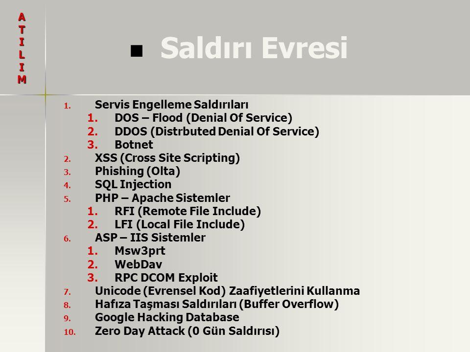 Saldırı Evresi 1. 1. Servis Engelleme Saldırıları 1. 1.DOS – Flood (Denial Of Service) 2. 2.DDOS (Distrbuted Denial Of Service) 3. 3.Botnet 2. 2. XSS