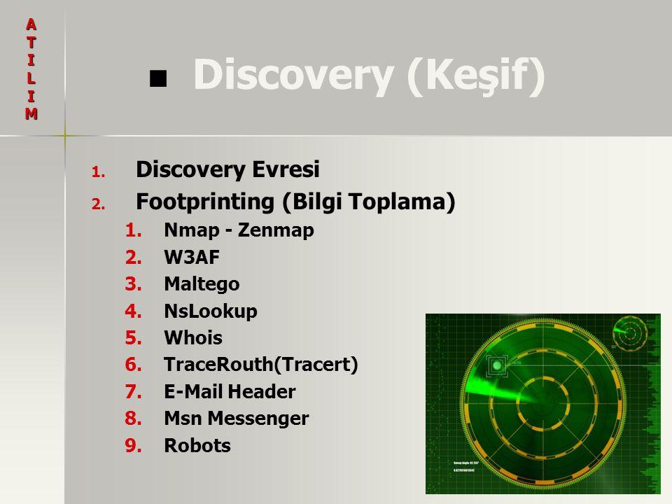 Discovery (Keşif) 1. 1. Discovery Evresi 2. 2. Footprinting (Bilgi Toplama) 1. 1.Nmap - Zenmap 2. 2.W3AF 3. 3.Maltego 4. 4.NsLookup 5. 5.Whois 6. 6.Tr