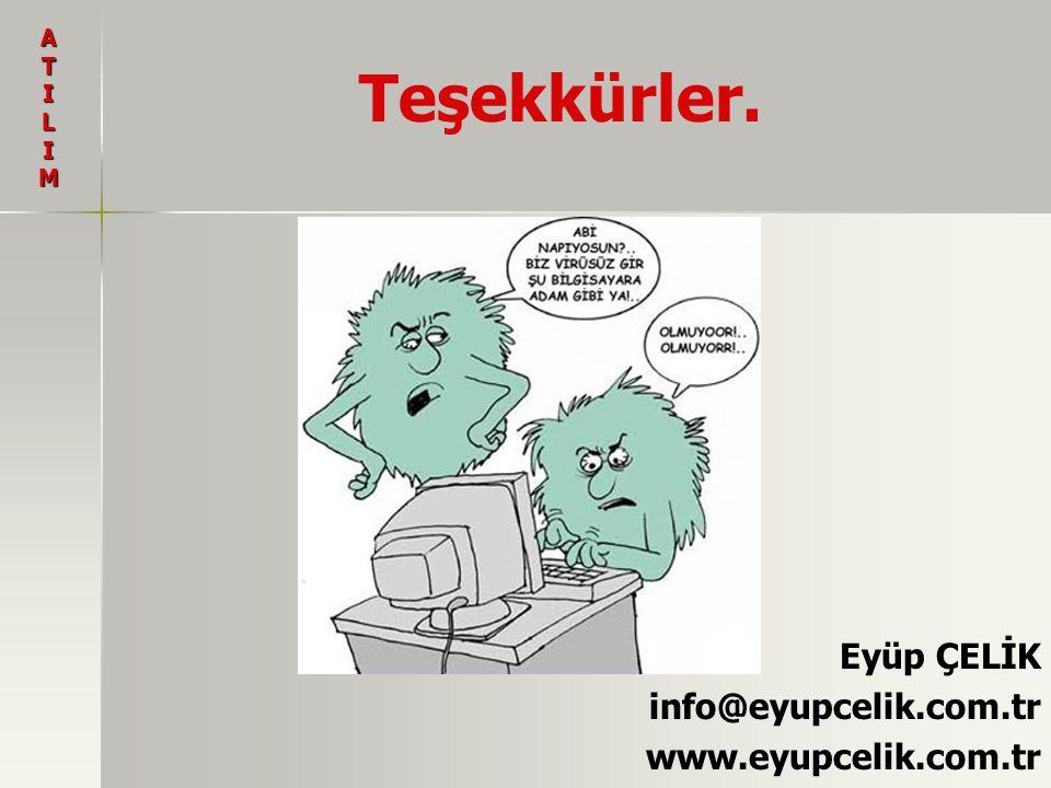 Teşekkürler. Eyüp ÇELİK info@eyupcelik.com.tr www.eyupcelik.com.tr ATILIM
