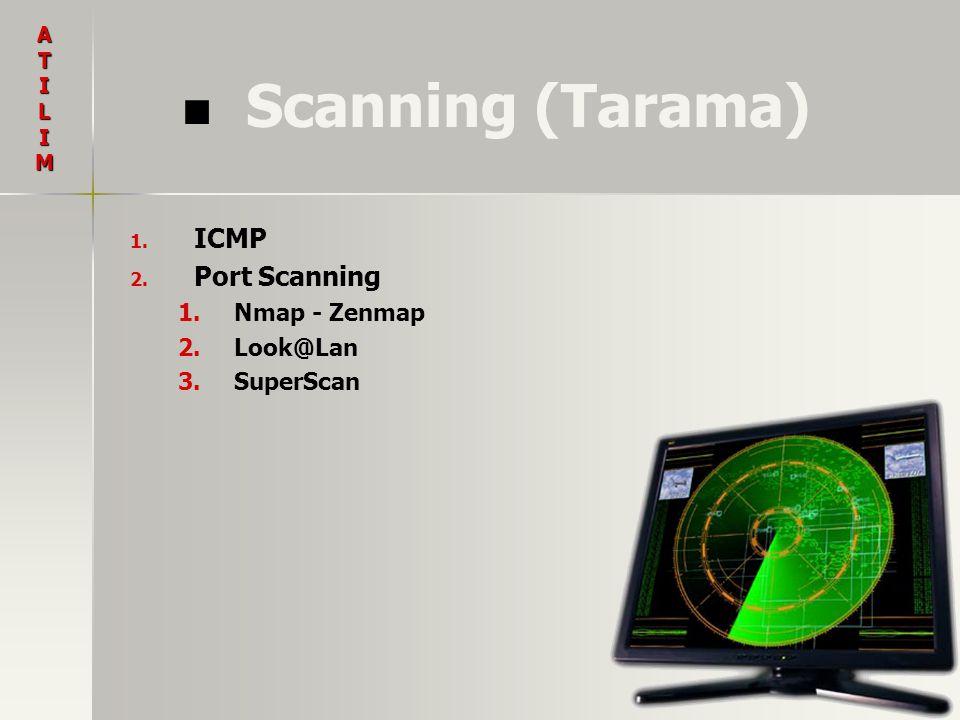Scanning (Tarama) ATILIM 1. 1. ICMP 2. 2. Port Scanning 1. 1.Nmap - Zenmap 2. 2.Look@Lan 3. 3.SuperScan