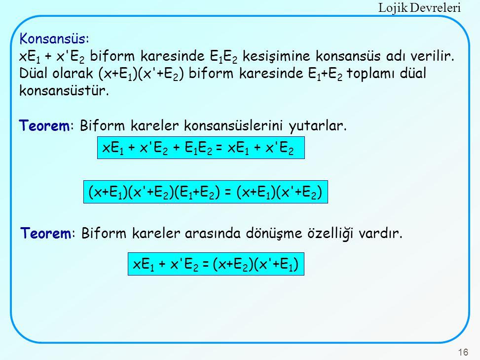Lojik Devreleri 16 Konsansüs: xE 1 + x'E 2 biform karesinde E 1 E 2 kesişimine konsansüs adı verilir. Düal olarak (x+E 1 )(x'+E 2 ) biform karesinde E