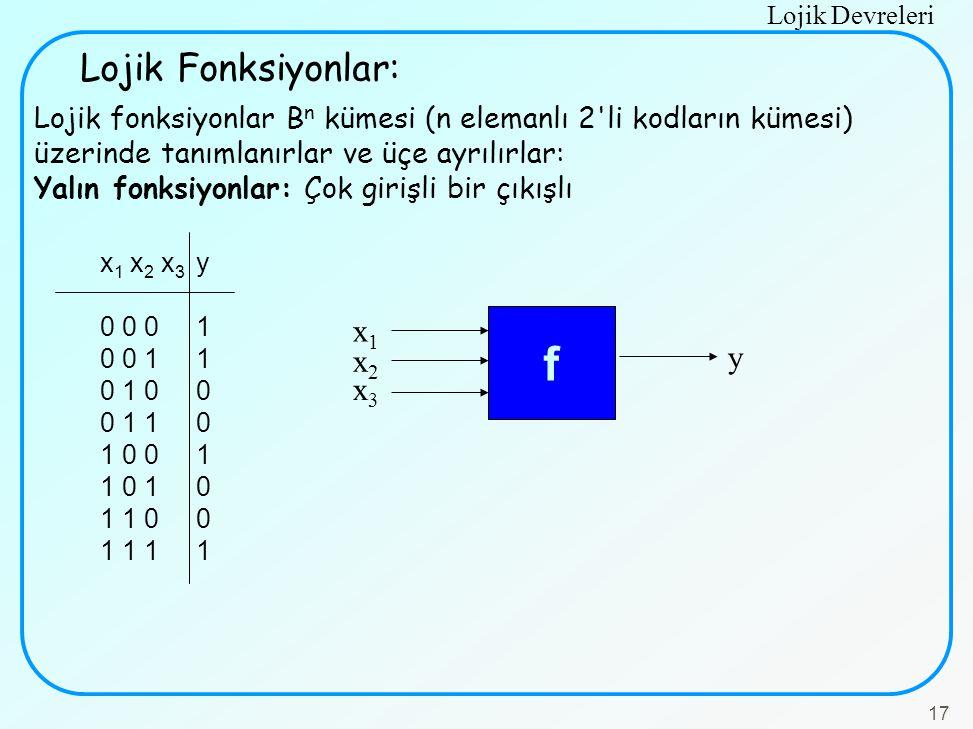 Lojik Devreleri 17 Lojik fonksiyonlar B n kümesi (n elemanlı 2'li kodların kümesi) üzerinde tanımlanırlar ve üçe ayrılırlar: Yalın fonksiyonlar: Çok g