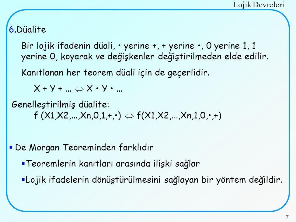 Lojik Devreleri 7 6.Düalite Bir lojik ifadenin düali, yerine +, + yerine, 0 yerine 1, 1 yerine 0, koyarak ve değişkenler değiştirilmeden elde edilir.