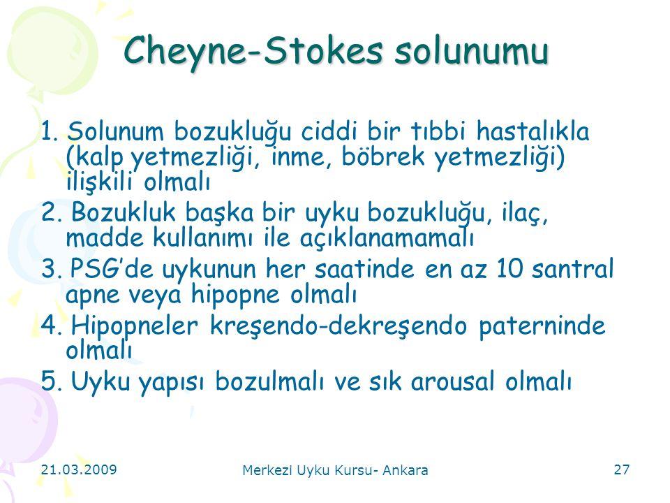 21.03.2009 Merkezi Uyku Kursu- Ankara 27 Cheyne-Stokes solunumu 1. Solunum bozukluğu ciddi bir tıbbi hastalıkla (kalp yetmezliği, inme, böbrek yetmezl