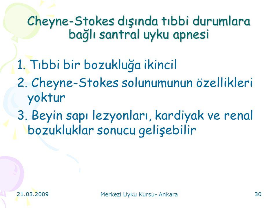 21.03.2009 Merkezi Uyku Kursu- Ankara 30 Cheyne-Stokes dışında tıbbi durumlara bağlı santral uyku apnesi 1. Tıbbi bir bozukluğa ikincil 2. Cheyne-Stok