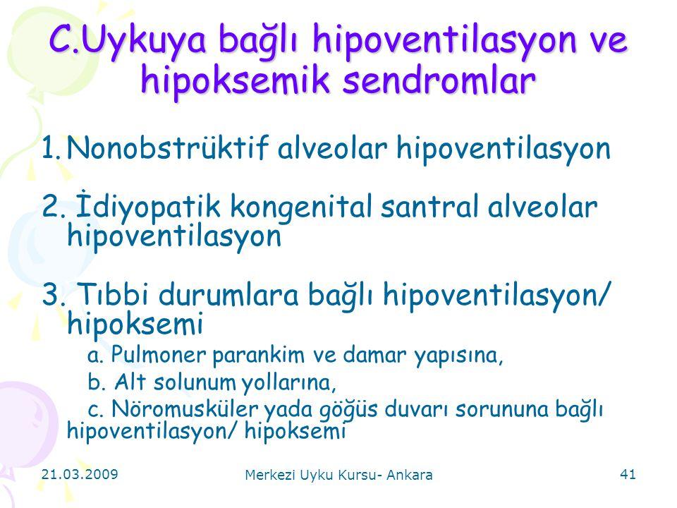 21.03.2009 Merkezi Uyku Kursu- Ankara 41 C.Uykuya bağlı hipoventilasyon ve hipoksemik sendromlar 1.Nonobstrüktif alveolar hipoventilasyon 2. İdiyopati