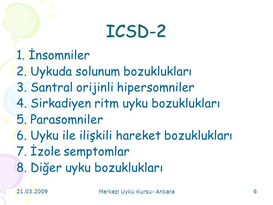21.03.2009 Merkezi Uyku Kursu- Ankara 37 Uyku ile ilişkili solunum bozuklukları A.