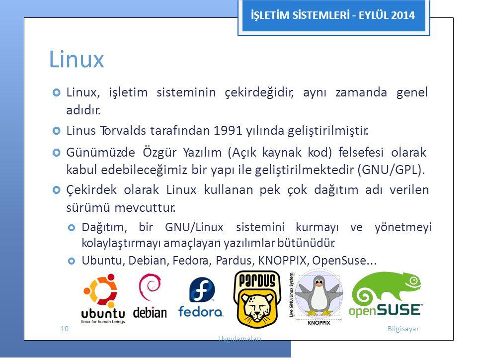 İŞLETİM SİSTEMLERİ - EYLÜL 2014 Linux  Linux, işletim sisteminin çekirdeğidir, aynı zamanda genel adıdır.  Linus Torvalds tarafından 1991 yılında ge