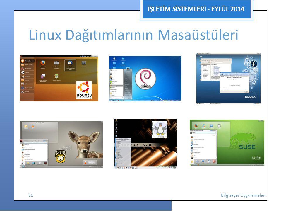 İŞLETİM SİSTEMLERİ - EYLÜL 2014 Linux Dağıtımlarının Masaüstüleri 11 Bilgisayar Uygulamaları