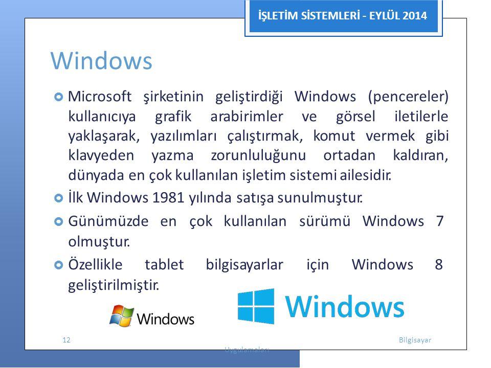 İŞLETİM SİSTEMLERİ - EYLÜL 2014 Windows  Microsoft şirketinin geliştirdiği Windows (pencereler) kullanıcıya grafik arabirimler ve görsel iletilerle y
