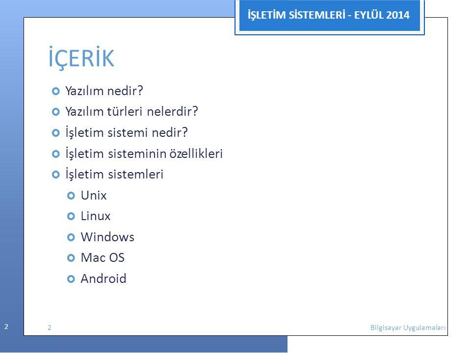 İŞLETİM SİSTEMLERİ - EYLÜL 2014 2 İÇERİK  Yazılım nedir?  Yazılım türleri nelerdir?  İşletim sistemi nedir?  İşletim sisteminin özellikleri  İşle