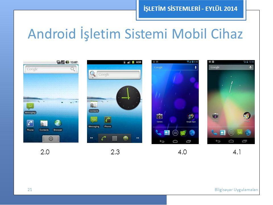 İŞLETİM SİSTEMLERİ - EYLÜL 2014 Android İşletim Sistemi Mobil Cihaz 2.0 2.3 4.0 4.1 21 Bilgisayar Uygulamaları