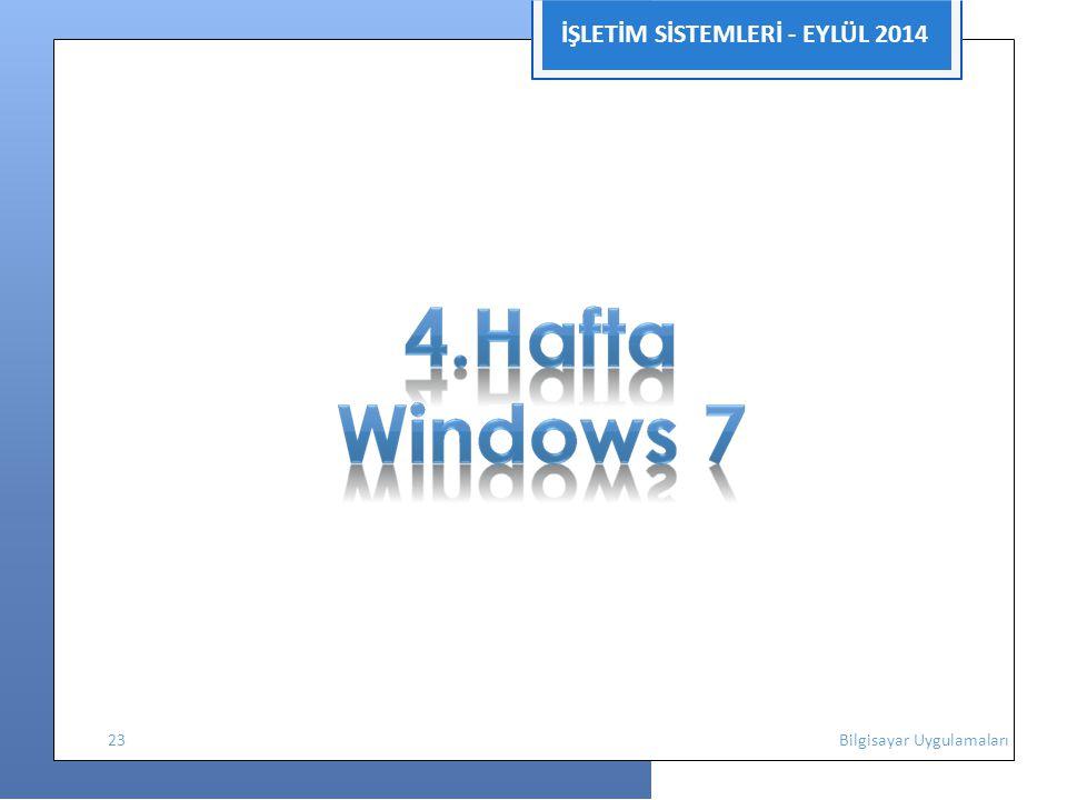 İŞLETİM SİSTEMLERİ - EYLÜL 2014 23 Bilgisayar Uygulamaları
