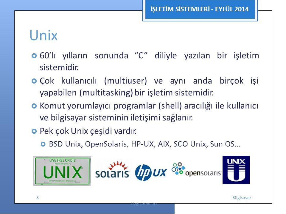 """İŞLETİM SİSTEMLERİ - EYLÜL 2014 Unix  60'lı yılların sonunda """"C"""" diliyle yazılan bir işletim sistemidir.  Çok kullanıcılı (multiuser) ve aynı anda b"""