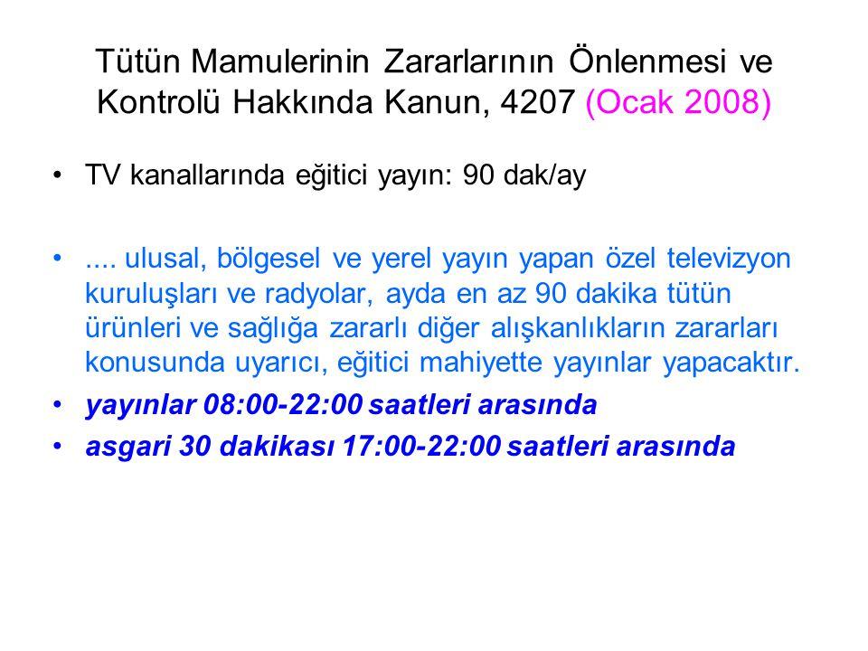 Tütün Mamulerinin Zararlarının Önlenmesi ve Kontrolü Hakkında Kanun, 4207 (Ocak 2008) TV kanallarında eğitici yayın: 90 dak/ay.... ulusal, bölgesel ve