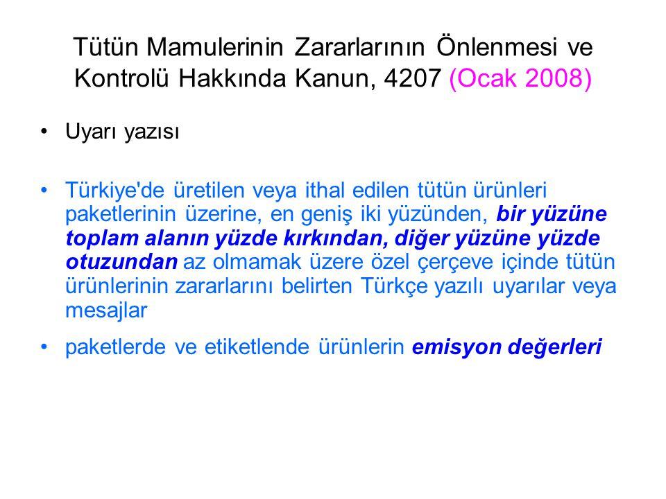 Tütün Mamulerinin Zararlarının Önlenmesi ve Kontrolü Hakkında Kanun, 4207 (Ocak 2008) Uyarı yazısı Türkiye'de üretilen veya ithal edilen tütün ürünler