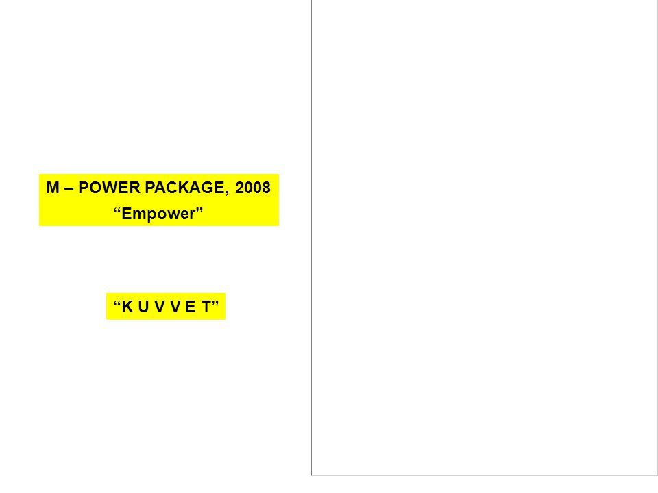 "M – POWER PACKAGE, 2008 ""Empower"" ""K U V V E T"""