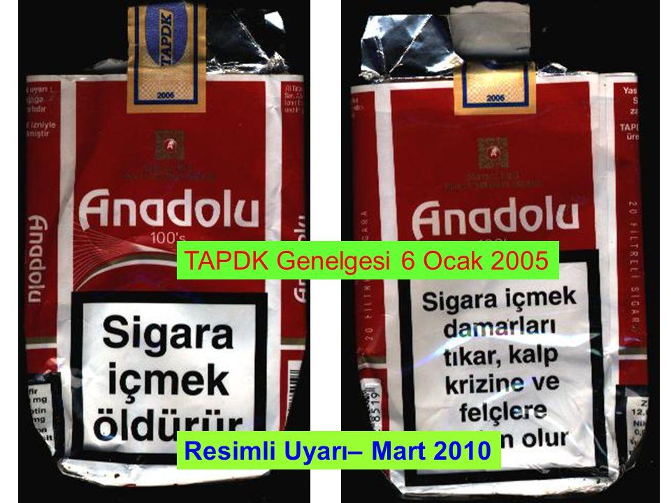 Tütün Mamulerinin Zararlarının Önlenmesi ve Kontrolü Hakkında Kanun, 4207 (Ocak 2008) Uyarı yazısı Türkiye de üretilen veya ithal edilen tütün ürünleri paketlerinin üzerine, en geniş iki yüzünden, bir yüzüne toplam alanın yüzde kırkından, diğer yüzüne yüzde otuzundan az olmamak üzere özel çerçeve içinde tütün ürünlerinin zararlarını belirten Türkçe yazılı uyarılar veya mesajlar paketlerde ve etiketlende ürünlerin emisyon değerleri