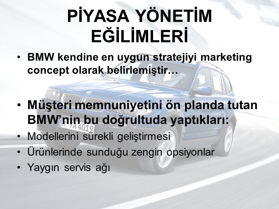 PİYASA YÖNETİM EĞİLİMLERİ BMW kendine en uygun stratejiyi marketing concept olarak belirlemiştir… Müşteri memnuniyetini ön planda tutan BMW'nin bu doğ