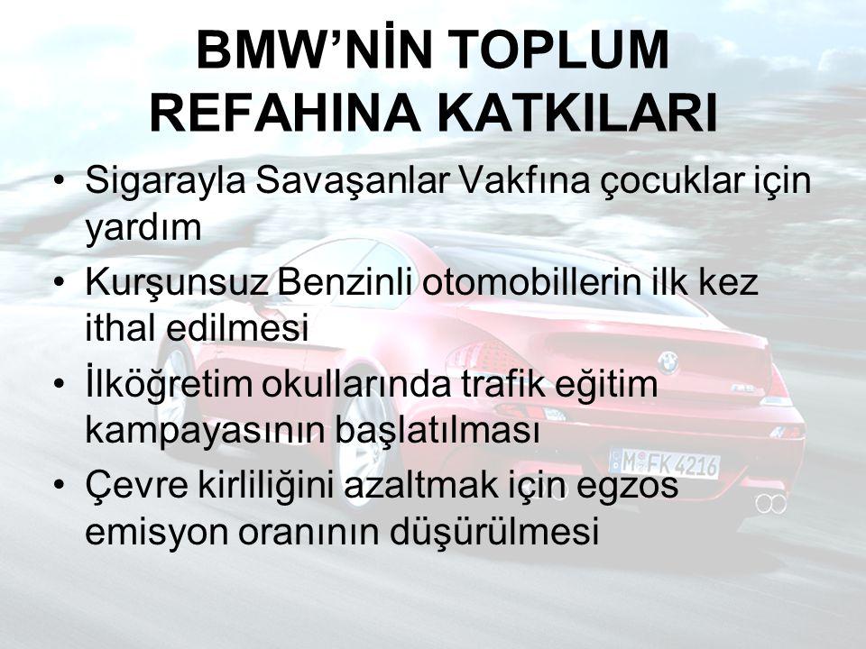 BMW'NİN TOPLUM REFAHINA KATKILARI Sigarayla Savaşanlar Vakfına çocuklar için yardım Kurşunsuz Benzinli otomobillerin ilk kez ithal edilmesi İlköğretim