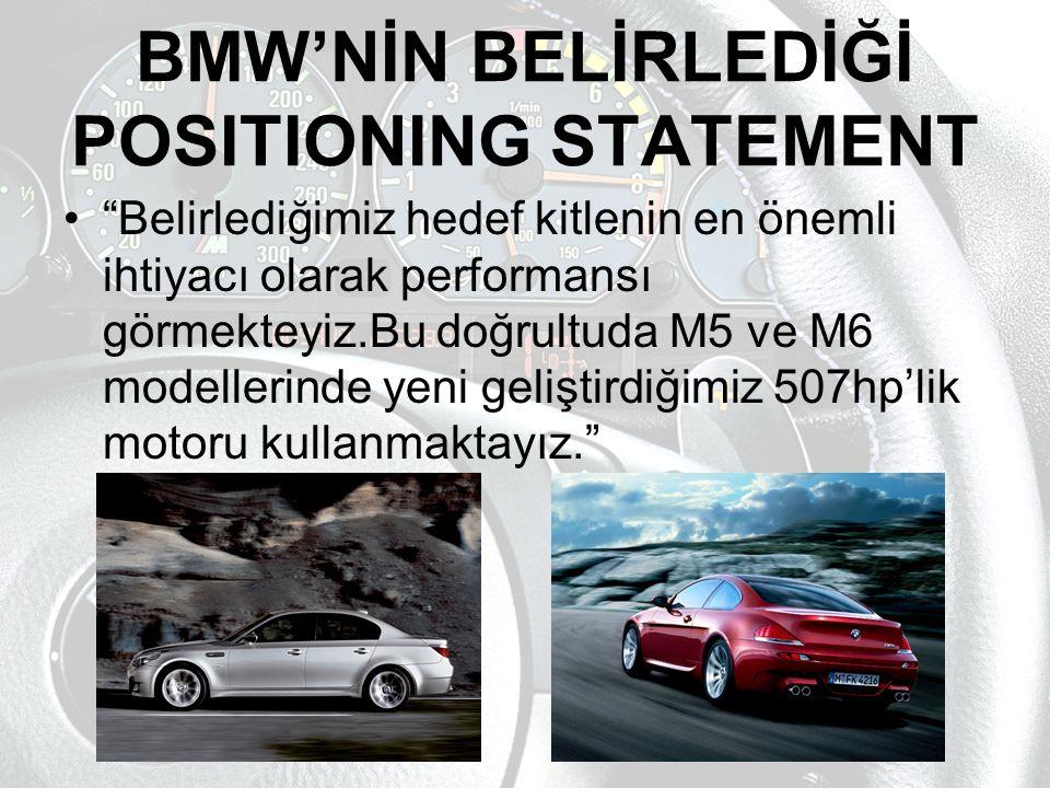 """BMW'NİN BELİRLEDİĞİ POSITIONING STATEMENT """"Belirlediğimiz hedef kitlenin en önemli ihtiyacı olarak performansı görmekteyiz.Bu doğrultuda M5 ve M6 mode"""
