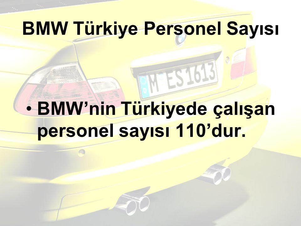 BMW Türkiye Personel Sayısı BMW'nin Türkiyede çalışan personel sayısı 110'dur.