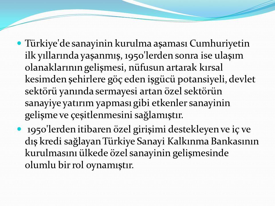 Türkiye'de sanayinin kurulma aşaması Cumhuriyetin ilk yıllarında yaşanmış, 1950'lerden sonra ise ulaşım olanaklarının gelişmesi, nüfusun artarak kırsa