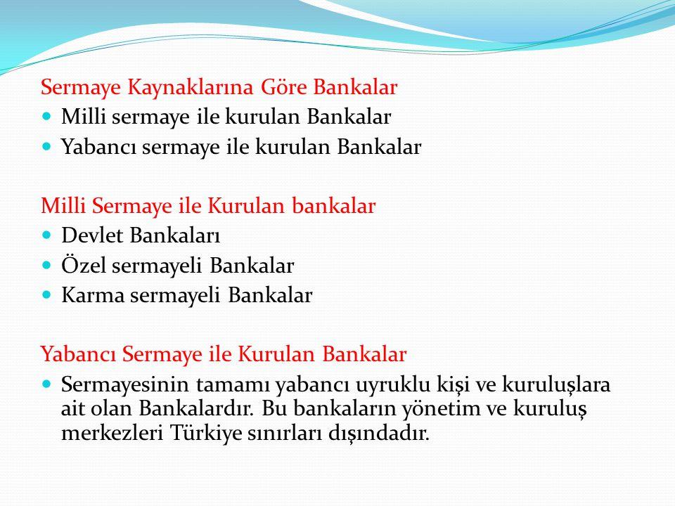 Sermaye Kaynaklarına Göre Bankalar Milli sermaye ile kurulan Bankalar Yabancı sermaye ile kurulan Bankalar Milli Sermaye ile Kurulan bankalar Devlet B