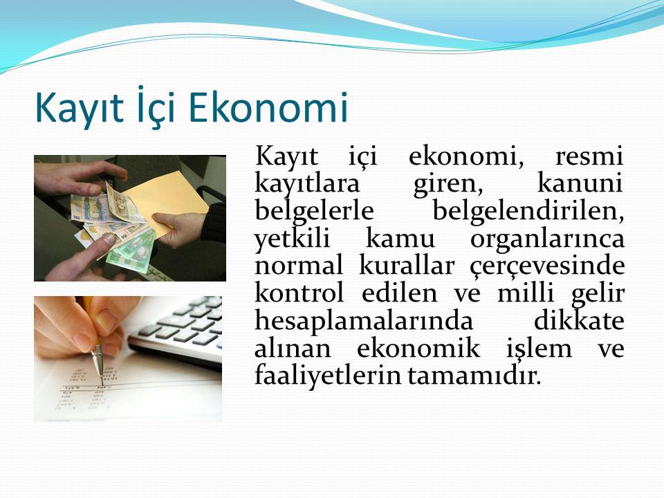 Kayıt İçi Ekonomi Kayıt içi ekonomi, resmi kayıtlara giren, kanuni belgelerle belgelendirilen, yetkili kamu organlarınca normal kurallar çerçevesinde