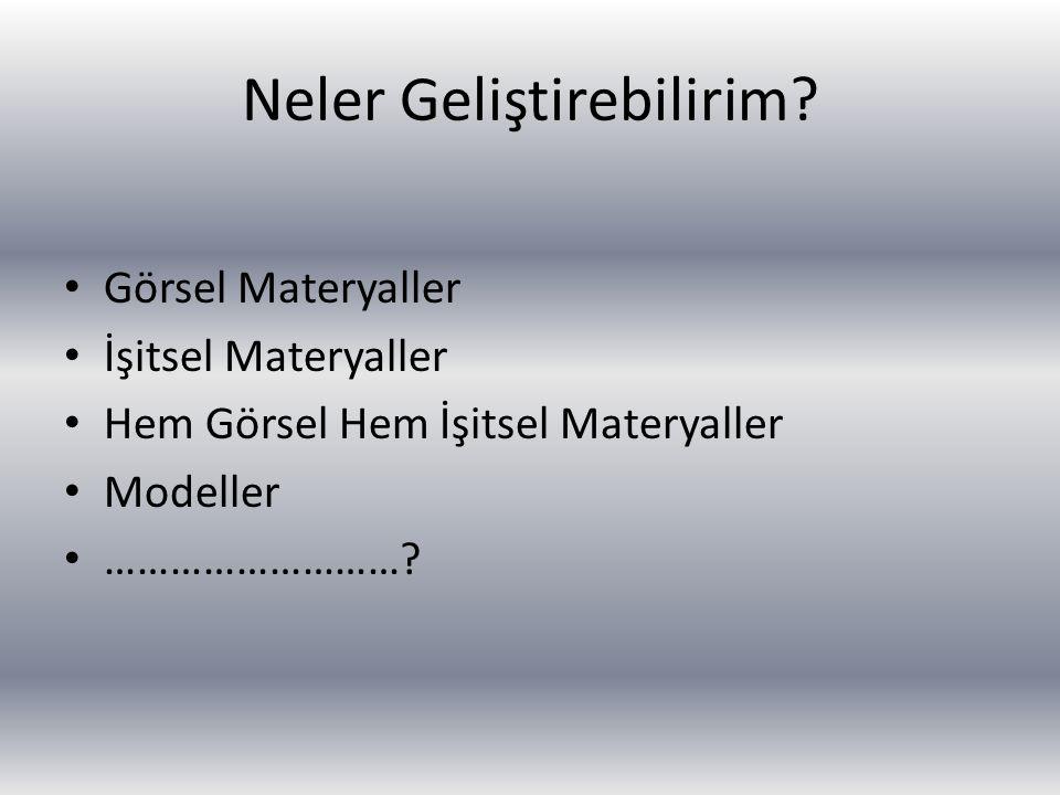 Öğretmen açısından; Materyal öğrenmeyi kolaylaştırıcı mıdır? Materyal öğrenci başarısını artırıcı mıdır? Materyal kullanışlı, ekonomik ve ulaşılabilir