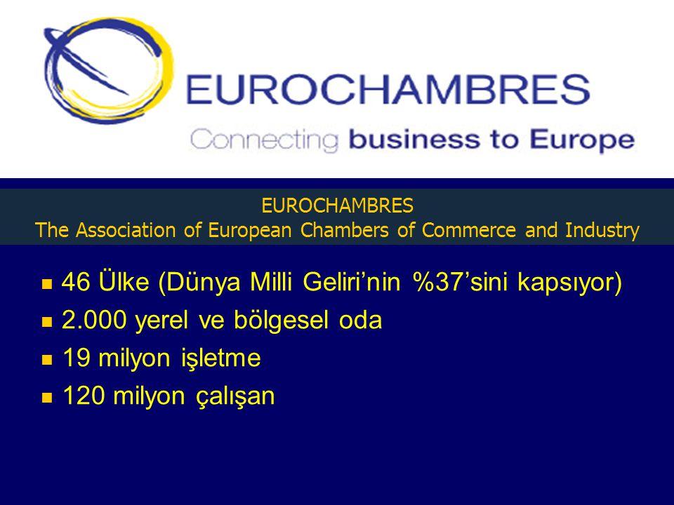 46 Ülke (Dünya Milli Geliri'nin %37'sini kapsıyor) 2.000 yerel ve bölgesel oda 19 milyon işletme 120 milyon çalışan EUROCHAMBRES The Association of European Chambers of Commerce and Industry
