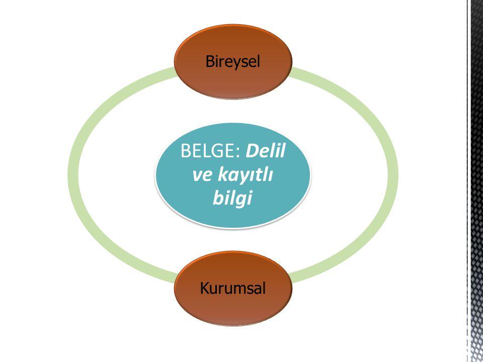 BELGE: Delil ve kayıtlı bilgi BireyselKurumsal