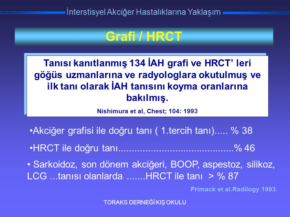 TORAKS DERNEĞİ KIŞ OKULU İnterstisyel Akciğer Hastalıklarına Yaklaşım Grafi / HRCT Tanısı kanıtlanmış 134 İAH grafi ve HRCT' leri göğüs uzmanlarına ve
