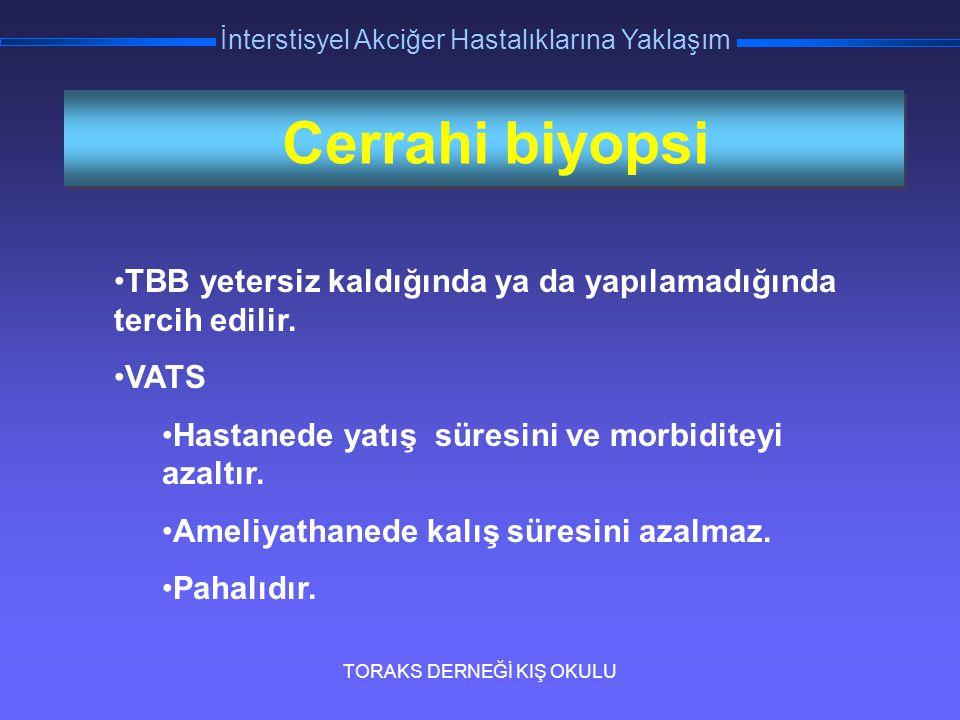 TORAKS DERNEĞİ KIŞ OKULU İnterstisyel Akciğer Hastalıklarına Yaklaşım Cerrahi biyopsi TBB yetersiz kaldığında ya da yapılamadığında tercih edilir. VAT