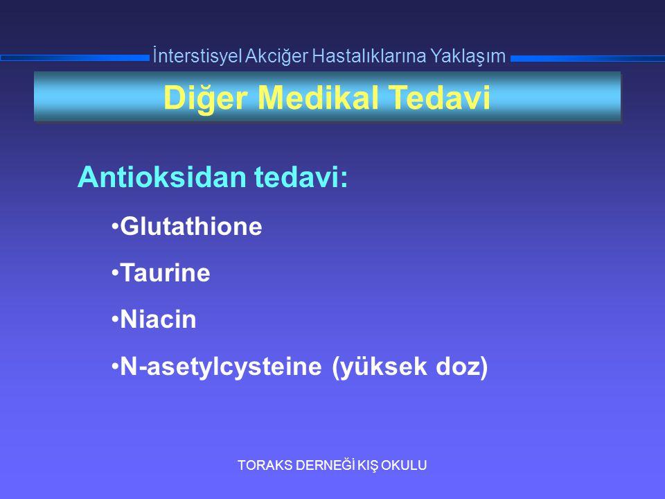TORAKS DERNEĞİ KIŞ OKULU İnterstisyel Akciğer Hastalıklarına Yaklaşım Diğer Medikal Tedavi Antioksidan tedavi: Glutathione Taurine Niacin N-asetylcyst