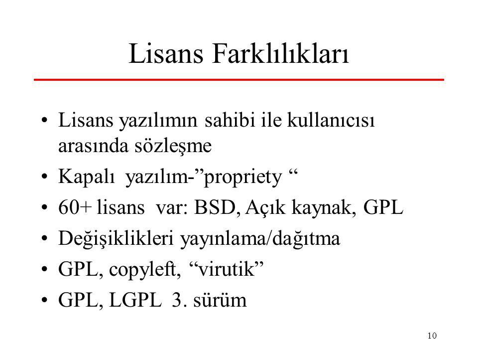 10 Lisans Farklılıkları Lisans yazılımın sahibi ile kullanıcısı arasında sözleşme Kapalı yazılım- propriety 60+ lisans var: BSD, Açık kaynak, GPL Değişiklikleri yayınlama/dağıtma GPL, copyleft, virutik GPL, LGPL 3.