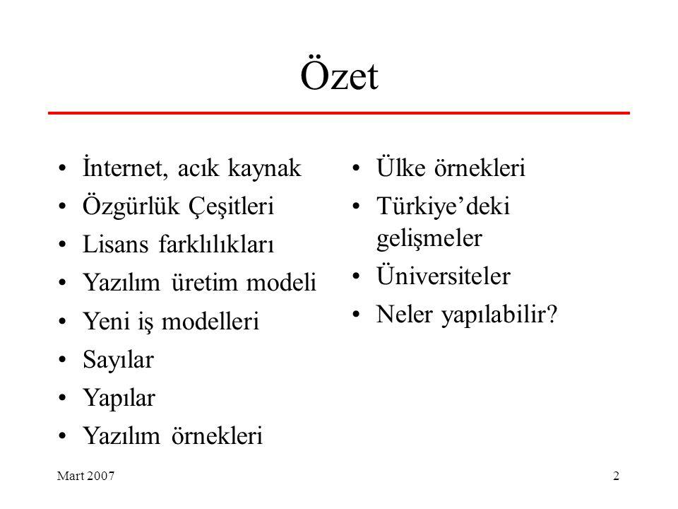 Mart 2007 2 Özet İnternet, acık kaynak Özgürlük Çeşitleri Lisans farklılıkları Yazılım üretim modeli Yeni iş modelleri Sayılar Yapılar Yazılım örnekleri Ülke örnekleri Türkiye'deki gelişmeler Üniversiteler Neler yapılabilir?