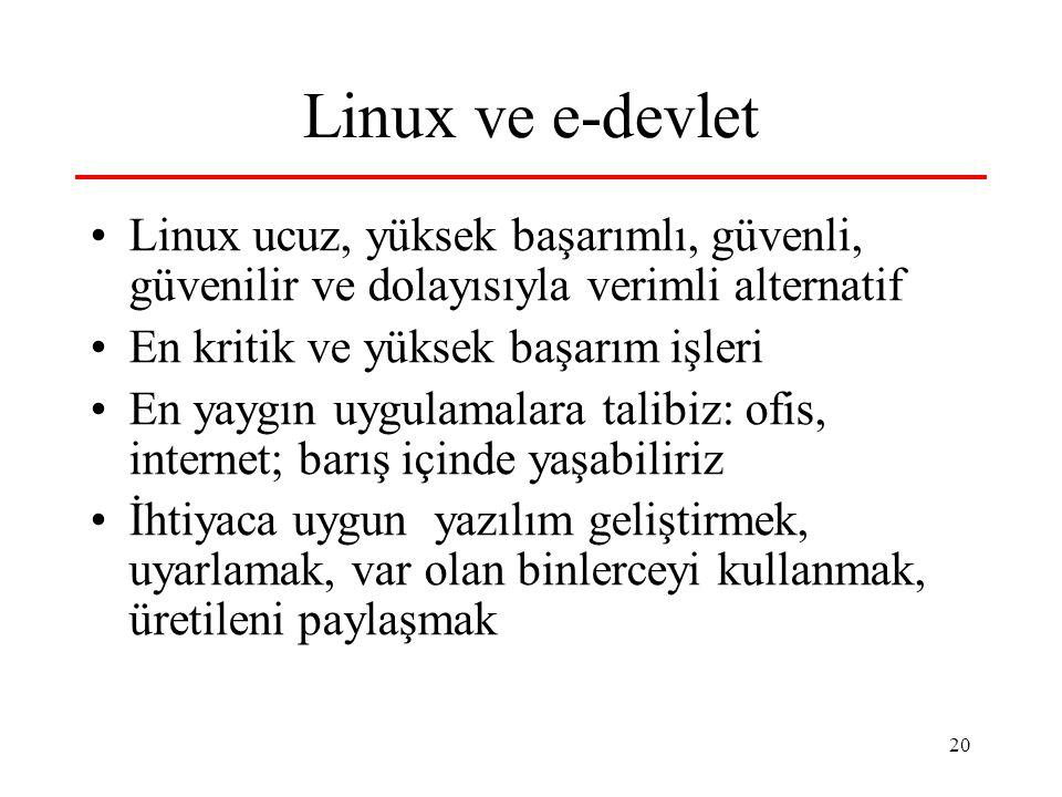 20 Linux ve e-devlet Linux ucuz, yüksek başarımlı, güvenli, güvenilir ve dolayısıyla verimli alternatif En kritik ve yüksek başarım işleri En yaygın uygulamalara talibiz: ofis, internet; barış içinde yaşabiliriz İhtiyaca uygun yazılım geliştirmek, uyarlamak, var olan binlerceyi kullanmak, üretileni paylaşmak