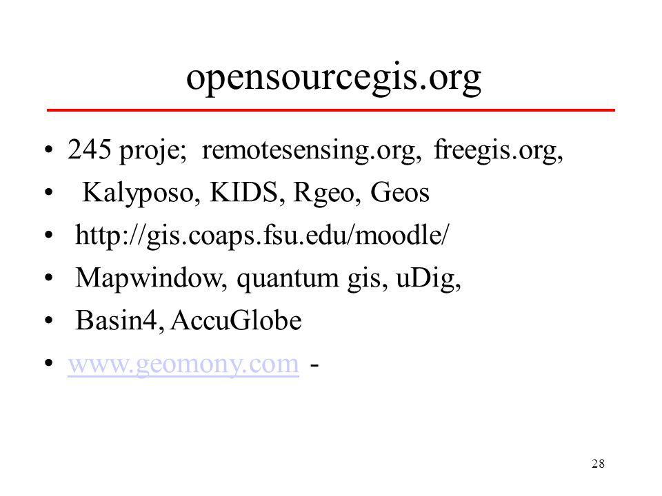 28 opensourcegis.org 245 proje; remotesensing.org, freegis.org, Kalyposo, KIDS, Rgeo, Geos http://gis.coaps.fsu.edu/moodle/ Mapwindow, quantum gis, uDig, Basin4, AccuGlobe www.geomony.com -www.geomony.com