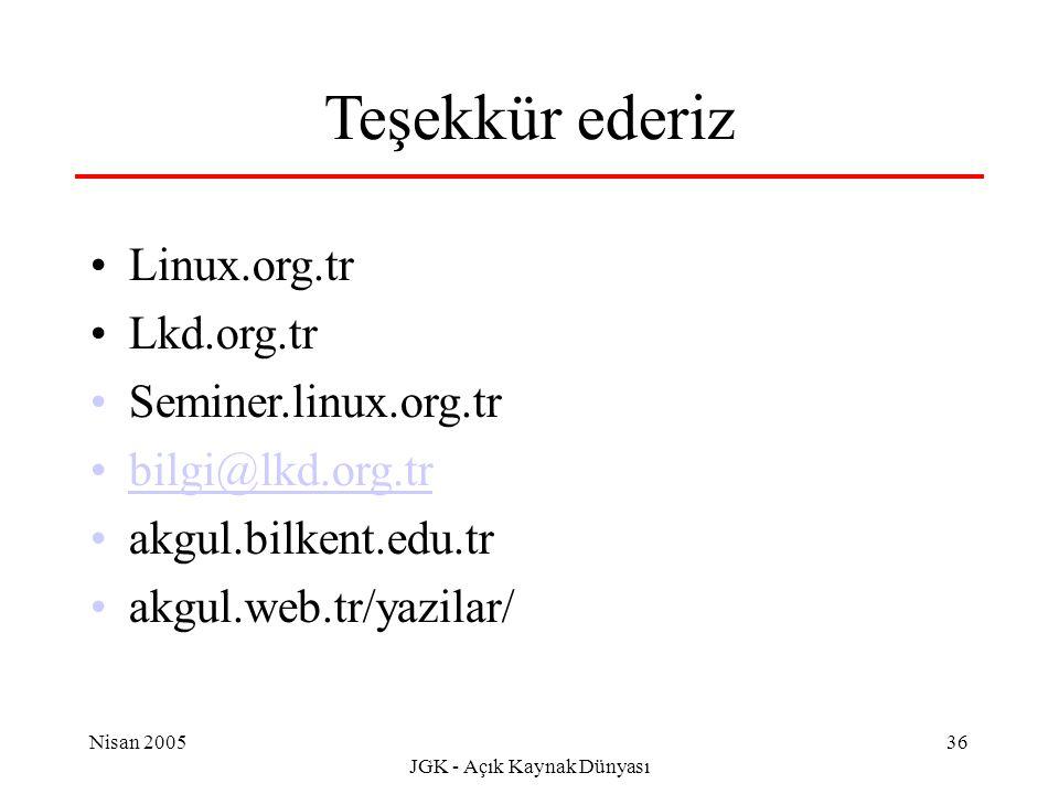 Nisan 2005 JGK - Açık Kaynak Dünyası 36 Teşekkür ederiz Linux.org.tr Lkd.org.tr Seminer.linux.org.tr bilgi@lkd.org.tr akgul.bilkent.edu.tr akgul.web.tr/yazilar/