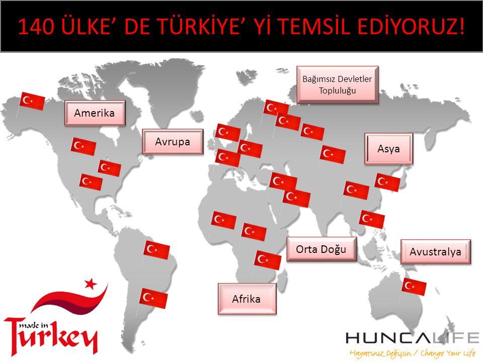 140 ÜLKE' DE TÜRKİYE' Yİ TEMSİL EDİYORUZ.