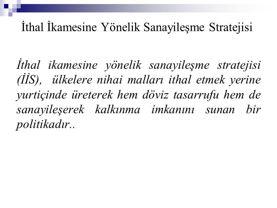 İthal İkamesine Yönelik Sanayileşme Stratejisi İthal ikamesine yönelik sanayileşme stratejisi (İİS), ülkelere nihai malları ithal etmek yerine yurtiçi