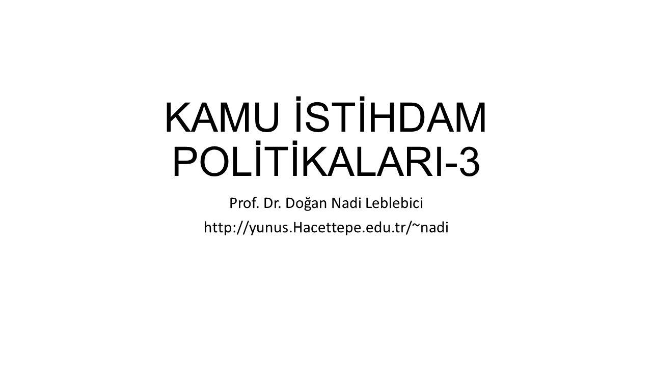 KAMU İSTİHDAM POLİTİKALARI-3 Prof. Dr. Doğan Nadi Leblebici http://yunus.Hacettepe.edu.tr/~nadi